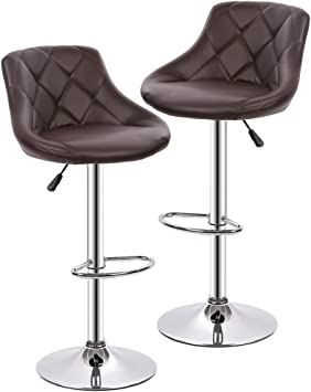 SK Depot/™ High Back Swivel Adjustable PU Leather Bar Stool Pub Chair Black with Backrest /& Footrest//Back Foot Rest