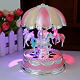Tools & Hardware : Creative Wondeful Gift,Highpot Romantic Merry-Go-Round Music Box Baby's Room Lamp Bedside Light Home Decor Carousel Kid Gift (Pink)