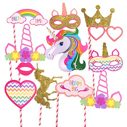 Gold Unicorn and Crown Party Supplies, Rainbow Unicorn Large Photo Booth Props Colorful(12 pcs-Fully Assembled) for Girls Kids Birthday Baby Shower Party]()