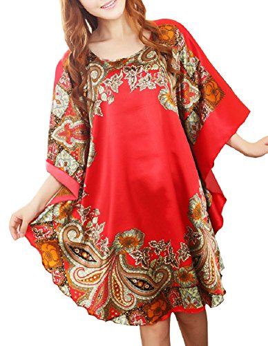 SexyTown Women's Soft Silk Robe Printed Sleepwear Dress Batwing Sleeve Nightgown (X-Large, Style2-Red) ()