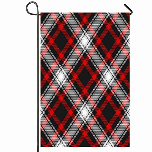 Ahawoso Outdoor Garden Flag 12x18 Inches Checker BBQ Red Black White Tartan Pattern Irish Check Border Breakfast British Buffalo Celtic Picnic Seasonal Home Decorative House Yard Sign