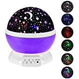 Star Sky Night Lamp, Kingcenton Baby Lights Romantic Room Rotating Starry Star Projector with 9 Color Change Night Lighting Lamp, USB Cable/Batteries Powered for Kids Bedroom,Christmas Gifts (Purple)