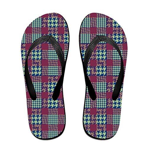 SummerTllo Houndstooth-Pattern Mens Womens Sandals Flip Flops Thong Sandals Black