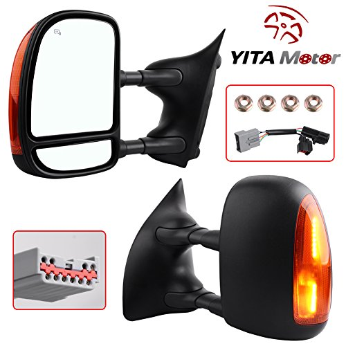 YITAMOTOR Towing Mirrors For 99-07 Ford F250 F350 F450 F550 Super Duty Door Side Mirror Telescopic Heated Signal Light Tow Mirrors Pair Set Driver and Passenger (2000 01 02 03 04 05 Ford (F350 Super Duty Rear Door)