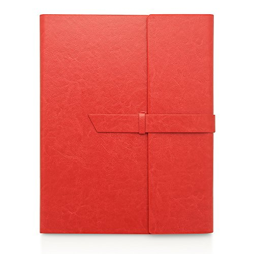 Gallaway Leather Padfolio Portfolio Folder - fits Letter, Legal, A4 Notebooks and Notepads (Red) (Binder Letter Pad Ring Cover)
