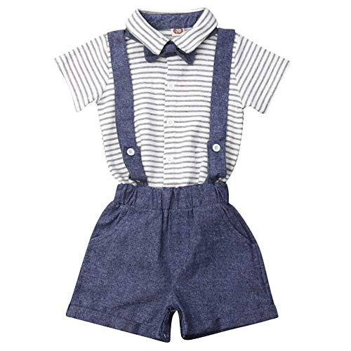 Granny Stripe - Granny&Gramps Love Baby Boys Bow-tie Gentleman Outfits Cotton Short Sleeve Stripes Bodysuit and Suspender Short (Grey, 6-12 Months)