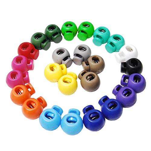25pcs Mixed Color Cord Lock Round Ball Toggle Stopper Plastic FLS046(Mix-s)
