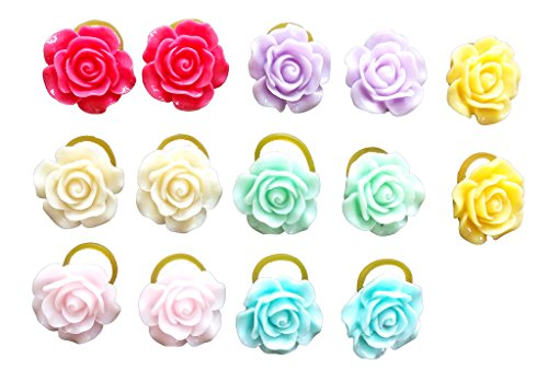PET SHOW Rose Flower Small Pet Cat Puppy Dog Hair Bows With Rubber Bands Grooming Hair Accessories Color Assorted Pack of 20