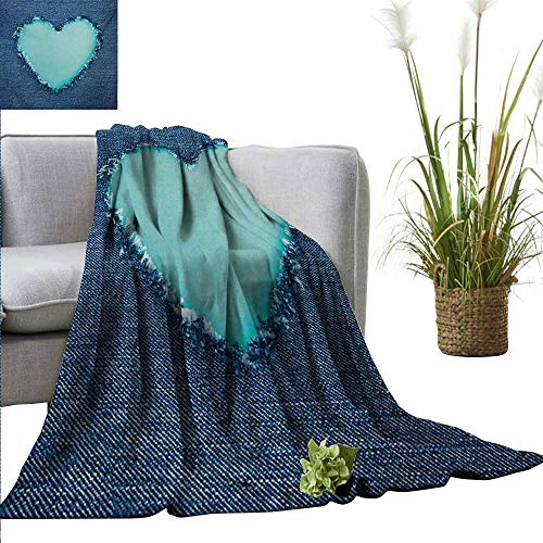 AndyTours Travel Blanket,Navy and Teal,Ripped Denim Jean Fabric Image Heart Shape Love Romance Valentines Day,Navy Blue Seafoam,Cozy Hypoallergenic, Easy to Carry Blanket 30