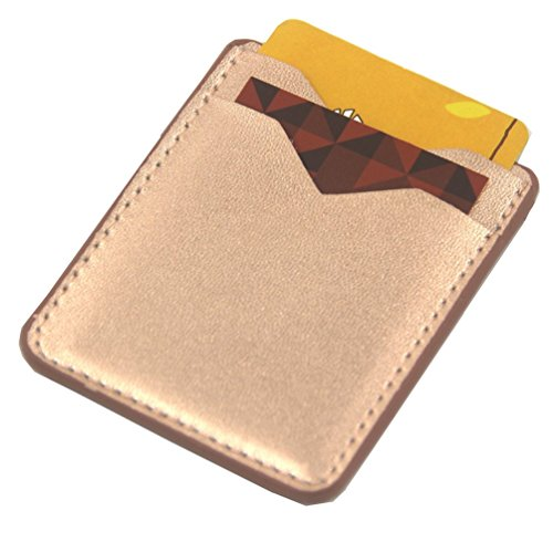 Card Holder for Back of Phone-Self Adhesive Stick On Credit Card Wallet Case Fit for iPhone Samsung Galaxy Android Smartphones(4.7 Phone Above) (Rose Gold)