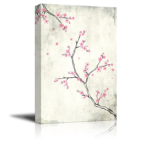 wall26 Canvas Wall Art - Watercolor Painting Style Pink Cherry Blossom on Branch - Giclee Print Gallery Wrap Modern Home Decor Ready to Hang - 12x18 inches (Branch Cherry Blossom Pink)
