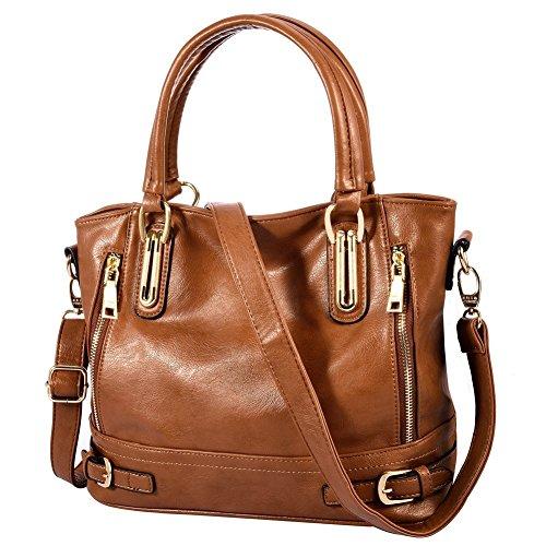 Large Brown Womens Handbag (Vbiger Women's Large Capacity Zipper Shoulder Satchel Handbags Tote Bags)