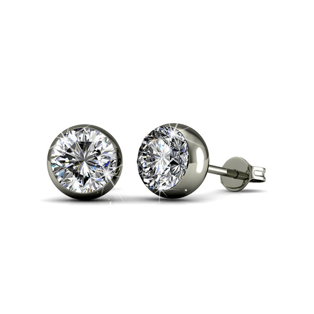 Cate & Chloe Blaire 18k White Gold Crystal Stud Earring with Swarovski, Twilight Sparkle Round Cut Diamond Swavorski Crystal Silver Studs Earring Set, Wedding Anniversary - Hypoallergenic - MSRP $116