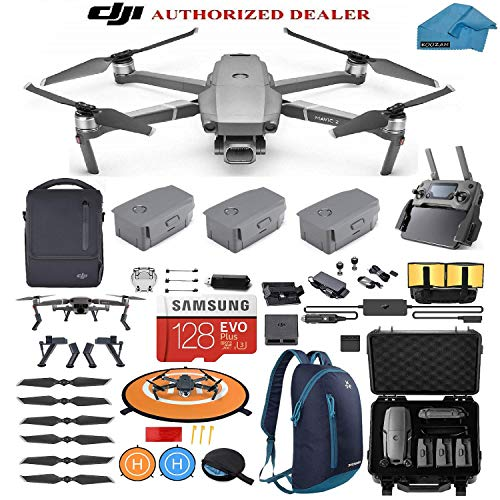 - DJI Mavic 2 PRO Drone Quadcopter Fly More Combo, Hard Case and Backpack, with 3 Batteries, 128GB SD Card with Hasselblad Video Camera Gimbal Bundle Kit with Must Have Accessories
