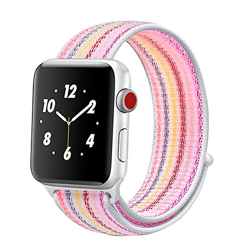 Price comparison product image Winmy For Apple Watch Band Sport Loop Bands 38mm, Lightweight Breathable Nylon Replacement Band Strap for Apple Watch Nike+, Series 1, Series 2, Series 3, Sport, Edition - Pink Rainbow Stripe