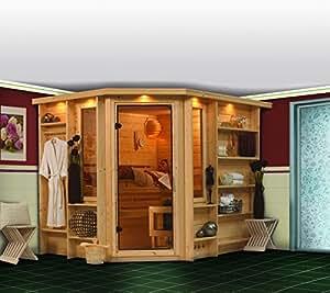 Sauna tradicional RIONA Premium 1 corona de 40 mm, 262 x 198 x 212 cm con KARIBU Sartén, 8 kW