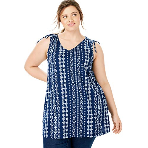 Woman Within Women's Plus Size Ruched Sleeve V-Neck Tunic Tank - Evening Blue Island Geo, 22/24