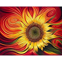 ABEUTY DIY Paint by Numbers for Adults Beginner - Red Sunflower 16x20 inches Number Painting Anti Stress Toys (Wooden Framed)