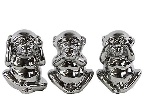 3 Evil Monkey (Urban Trends Ceramic Standing Monkey No Evil (Hear/Speak/See) Figurine with Polished Chrome Finish (Assortment of 3), Silver)