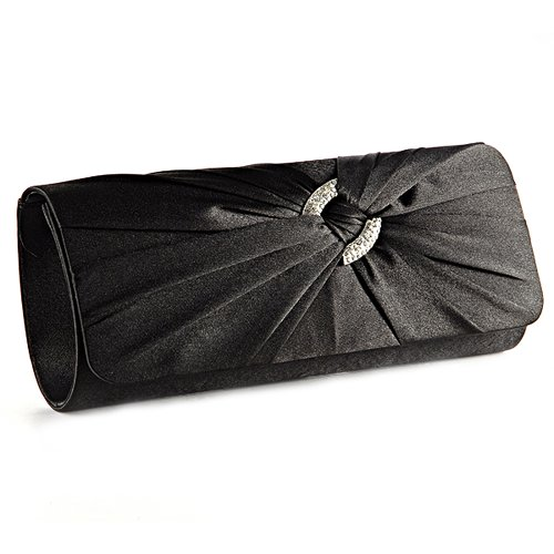 Black And White Satin Clutch Bag - 1