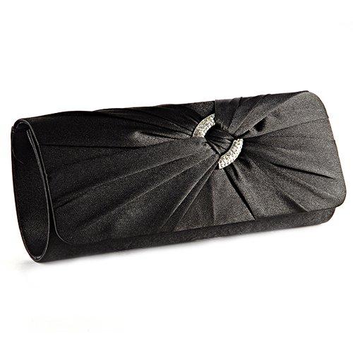 Black Satin Diamante Clutch Bag - 5