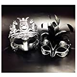 Black Feather & Silver Face Women Mask & Silver Roman Warrior Men Mask Venetian Couple Masks For Masquerade / Party / Ball Prom / Mardi Gras / Wedding / Wall Decoration
