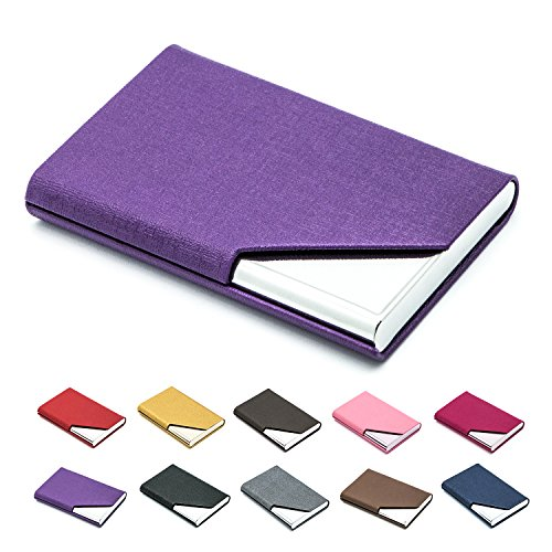 - Business Name Card Holder Luxury PU Leather & Stainless Steel Multi Card Case,Business Name Card Holder Wallet Credit Card ID Case/Holder for Men & Women - Keep Your Business Cards Clean (Purple) ¡