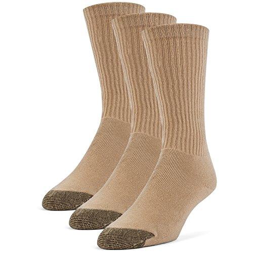 Galiva Men's Cotton Extra Soft Crew Cushion Socks - 3 Pairs, Small, Nude Beige (Tan Dress Socks)