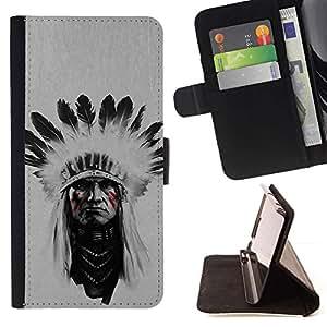 Momo Phone Case / Flip Funda de Cuero Case Cover - Jefe indio Hombre;;;;;;;; - Samsung Galaxy Note 3 III