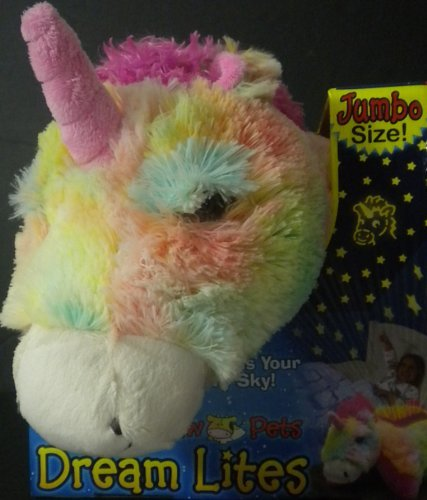 "Jumbo Dream Lites Pillow Pet Unicorn Multi Color Hot Pink Mane Horn 20"" x 10.5"" 3 Light Options Sleep Timer Project Stars 4"