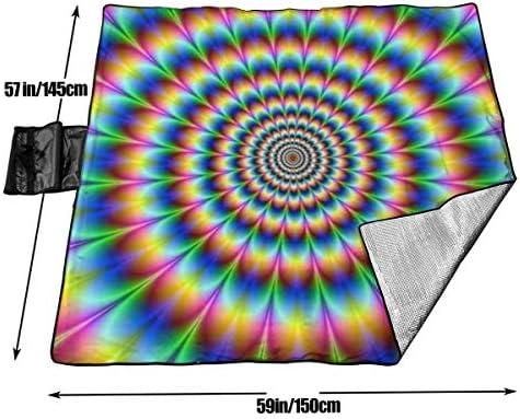 Singledog Coperta da Picnic a Spirale Trippy Illusion Coperta da Spiaggia per Esterni Coperta da Spiaggia Portatile per Adulti Stuoia da Picnic 145X150 CM