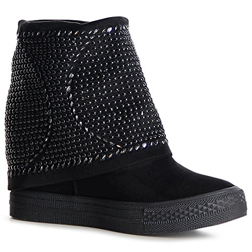Femmes Baskets Sport Chaussures Noir De Coin Topschuhe24 Ox6z8x