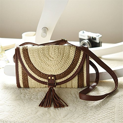 Amuele Knitted Straw Tassel Handbag Women Beach Shoulder Casual Bag Bag Female Coffee Lady rqcRryp