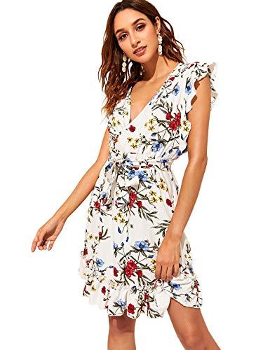 (Romwe Women's Ditsy Floral Sleeveless Ruffle Trim Surplice Front Belted Mini Dress White XL)