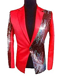 Mens Sequins Sparkly Blazer X-Small Red