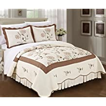 Serenta Classic Embroidered Taupe Sun Flowers 100% Cotton Bedspread Quilt Blanket 3 Pieces Bed Set(King)