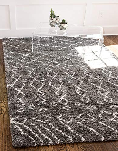 Unique Loom Rabat Shag Collection Tribal Moroccan Nomad Plush Gray Area Rug 4 0 x 6 0