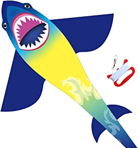 """HONBO Huge Shark Kites for Kids & Adults, Easy to Assemble Fly Beginner Kite for Boys & Girls for Outdoor Game, Beach Trip, Large Kite Flyer 75""""x45"""" with Long Tail, and 50 Meters String for Summer"""