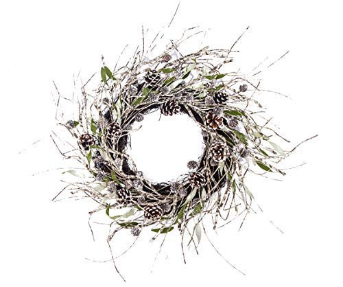 24' Led Lighted Wreath - Huashen 24 Inch Snow & Iced White Pinecone Birch Branch Christmas Door Wreath on Twig Base