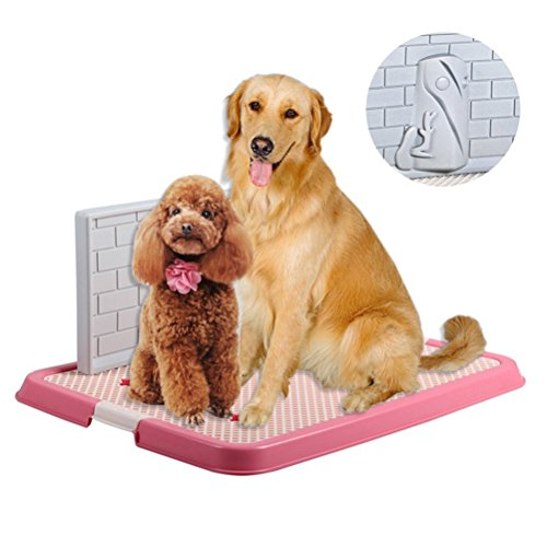 Inflatable Android Costumes (OWIKAR Indoor Pet Puppy Toilet Doggy Training Potty Patch Training Pad Portable Pet Park Corner Toilet with Wall for Male Dogs (With - Wall, Pink))