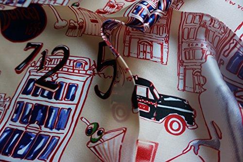 100% Silk Scarf Shawl, Scarfs for Women, Small Square, 20 inch x 20 inch (5th avenue)