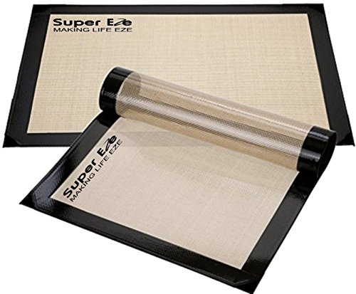 SuperEze Silicone Baking Mat Set Of 2 - Non Stick Pastry and Macaron Liners. These Nonstick Silicon Mats are perfect for Half Size Bakers Sheets. Free Recipes Included