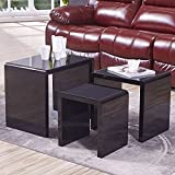 UEnjoy White Nest of 3 Tables High Gloss Nesting Tables Wood Coffee Table Multi-functional Side Table Living Room End Table (Black & Glass Top)