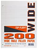 Top Flight Filler Paper, 10.5 x 8 Inches, Wide Rule, 200 Sheets (12110)