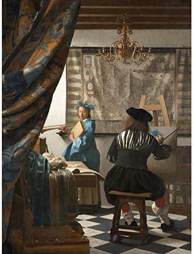 ポスター ヤンフェルメールの芸術 A4サイズ [インテリア 壁紙用] 絵画 アート 壁紙ポスター