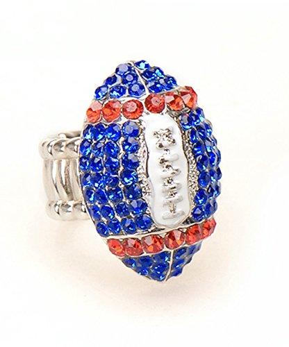 Die Hard Fan Costume (New York Fan Jewelry Blue & Red Women's Girl's Rhinestone Football Stretch Fit Fashion Bling Ring)