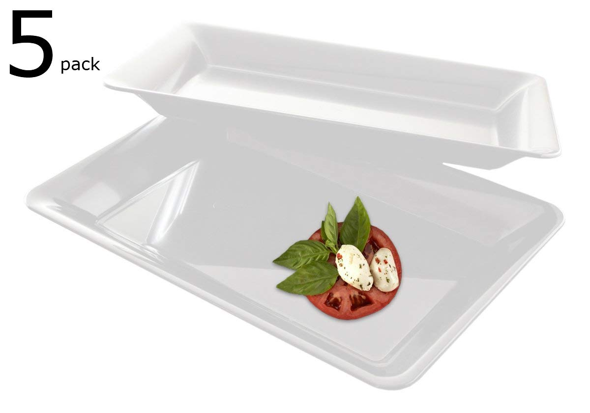 5 Rectangle White Plastic Trays Heavy Duty Plastic Serving Tray 10'' x 14'' Serving Platters Food Tray Decorative Serving Trays Wedding Platter Party Trays Great Disposable Serving Party Platters White by zappy