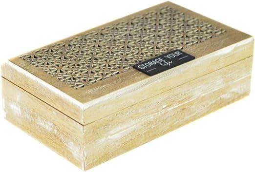 tapidecor Caja Madera Rectangular con TA PA TROQUELADA 26X15X8 ...