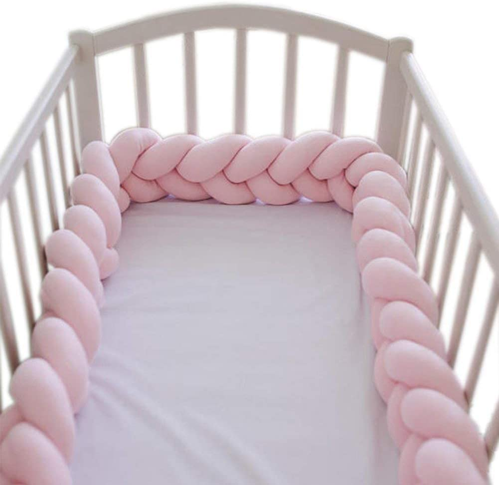 LFEWOX 4M Braided Baby Crib Bumper Knotted Pillow Knot Cushion Cot Bumper Bed Bumper Pad for Baby Room Nursery Decoration Pink; Blue