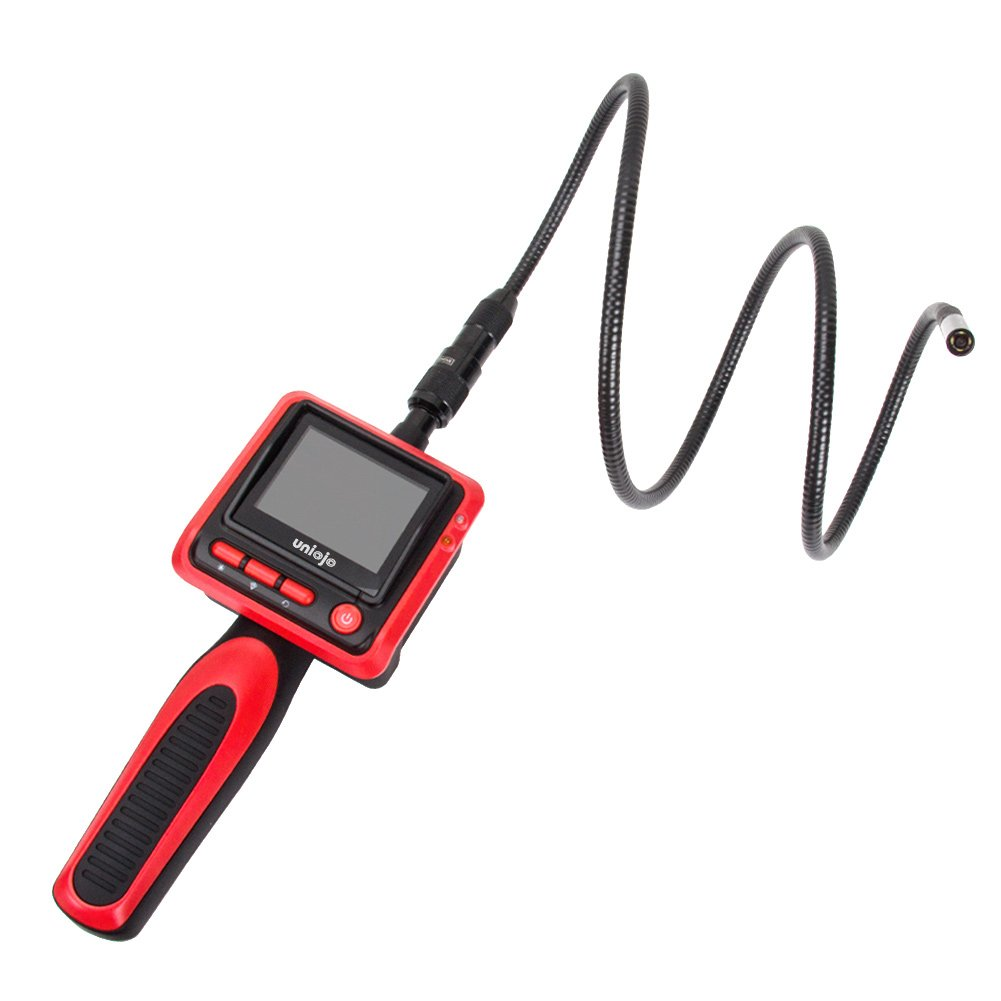 Inspection Camera, UNIOJO Digital Borescope 2.4 inch Color LCD Screen Endoscope Camera with 8MM Camera Diameter IP67 Waterproof Semi-Rigid Snake Tube Camera, Tool Box (Red)